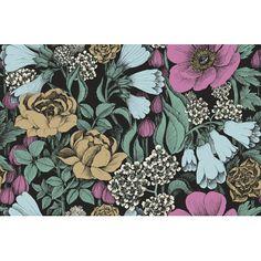 "Marimekko Volume 4 Oodi 33' x 21"" Floral and Botaincal Wallpaper Color: Taupe/Cloudy Blue/Antique Pink/Blue Black"