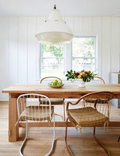 White and Wood Dining room light