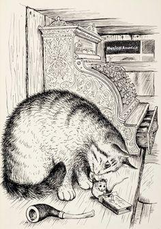 """Illustrations du romans pour enfants """"un grillon dans le métro"""" (que je recommande !!! par Garth Williams. Le chat s'appelle Harry-Le-Chat, le grillon, Chester, et la souris, Tucker !"""