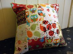 "Patchwork Cushion Woodland Theme 14"" by wonderbugs on Etsy, $24.00"