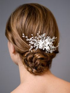 Floral Pearl and Crystal Wedding Comb in Silver Floral Wedding Hair, Hair Comb Wedding, Gold Wedding, Thing 1, Bridal Comb, Rose Gold Hair, Resin Flowers, Wedding Hair Accessories, Wedding Jewelry