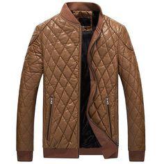 Men Diamond lattice PU Biker Leather Jacket Bomber Motor Jacket Men's Baseball Collar Jacket New Arrivals