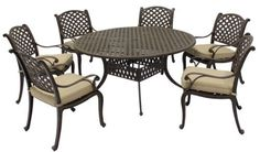 """Patio Furniture Aluminum Somerset 7PC Dining Set by 101patiofurniture.com. $1860.00. Product Material: Cast Aluminum. Patio Furniture Aluminum Somerset 7PC Dining Set. Color: Brown. Set includes:  (1) 60"""" round table  (6) dining arm chairs: 23""""W x 20""""D x 35""""H. Save 30%!"""