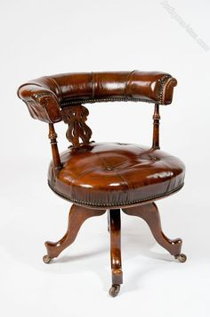 Superbe Victorian Leather Upholstered Desk Chair   Antiques Atlas