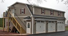 3 Car 2 Story Custom Garage with Living Quarters - Built on Site Prefab Garages, Custom Garages, Gambrel Barn, Gambrel Roof, Garage Apartment Plans, Garage Apartments, Garage Plans, Garage Ideas, 2 Story Garage