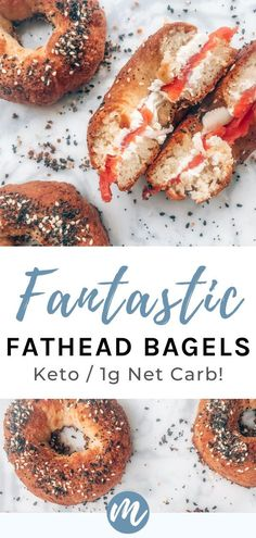 This fathead bagel recipe is the BEST! First, it's easy. Second, it's super low-carb. And finally, there's no cream cheese in the dough— making it lower in calories than other keto bagels. #everything #howtomake #ketoforbeginners Low Carb Flour, Low Carb Bread, Low Carb Diet, Keto Fat, Low Carb Chicken Recipes, Healthy Low Carb Recipes, Keto Recipes, Keto Chicken, Low Calorie Bagel Recipe