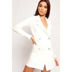 WearAll Button Detail Plunge Blazer Dress (535 ZAR) ❤ liked on Polyvore featuring dresses, cream, long sleeve mini dress, cream long sleeve dress, white v neck dress, white blazer dress and white dress