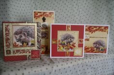 Hunkydory Mr Prickles - We made these cards using Hunkydory Crafts Thoughts of Autumn A4 Luxury Topper Set Mr Prickles