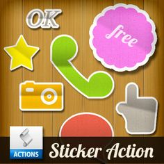 Sticker Photoshop Action (Buttons-And-Icons) | Actions for Photoshop