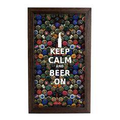 Quadro Porta-Tampinhas Keep Calm Beer (Pequeno) | Fábrica9