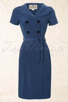 Collectif Clothing - 40s Rhonda Dress Georgette in Petrol blue