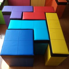 The bench in this vibrantly colored five piece set is designed to fit alongside each other just like in the game – and comes with a hollowed out body ideal for storage. Set of 5 pieces of tetris-shaped seats. Each has a removeable cushion lid revealing 40cm of empty space (from top to bottom).