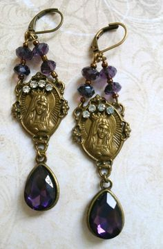 Purple virgin Mary crystal earrings blue by lorenza33 on Etsy