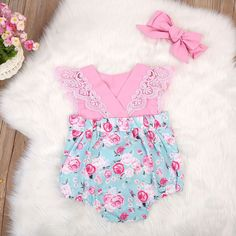 02ddcabc0da9 Pink Lovely Lace Roses Dress Romper. Onesie DressRomper DressLace RomperBaby  Girl RomperBaby Girl DressesBaby GirlsCute ...