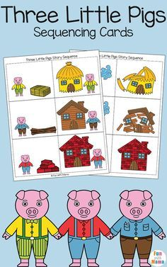 Add these free printable sequencing cards to your three little pigs craft activities for preschool and kindergarten kids. Children will love retelling this fairytale story via @funwithmama
