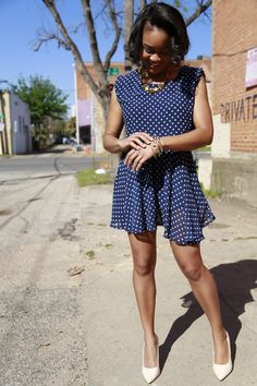 Navy and white polka dot dress | Chiffon dress | Preppy style | Preppy women's fashion
