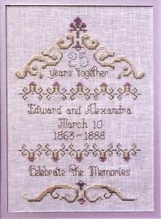 An elegant but simple sampler which is personalised with the couple's names and date of marriage.
