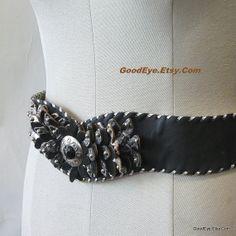 Fancy  Leather Drop Waist Cinch Belt WIDE medium Nuwave by GoodEye, $45.00