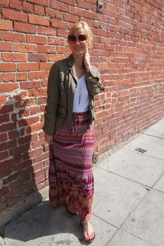 army green jacket with colorful bohemian print maxi