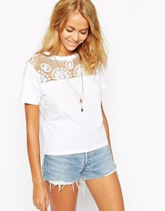 crochet yoke tshirt = If you're not great at crochet you could sew on some cotton lace (or repurpose a doily).