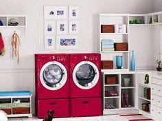 wauw!! te vet zo'n fel gekleurde wasmachine en droger!
