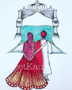 vekde he lageya ke baba ji is with us and its you and me. Sketches Of Love, Art Drawings Sketches, Easy Drawings, Indian Wedding Invitation Cards, Wedding Invitation Card Design, Invites, Event Invitations, Couple Sketch, Couple Drawings