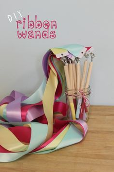 Gymnastics birthday party // DIY Ribbon Wands-good tutorial to make these! Ribbon Wands, Diy Ribbon, Ribbon Sticks, Ballerina Birthday Parties, Ballerina Party Favors, Gymnastics Party Favors, Gymnastics Birthday Parties, Dance Party Birthday, Festa Party
