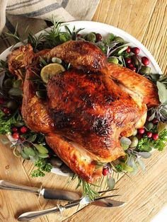 Citrus and Herb Butter Roast Turkey Recipe - The Suburban Soapbox - - The BEST turkey recipe ever. Citrus and Herb Butter Roasted Turkey is the most fool-proof recipe for tender, moist turkey your whole family will love. Best Turkey Recipe Ever, Herb Roasted Turkey, Roast Turkey Recipes, Herb Turkey Recipe, Whole Turkey Recipes, Sausage Recipes, Pumpkin Recipes, Chicken Recipes, Thanksgiving Menu