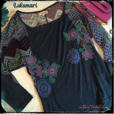 Anthropologie  Lulumari Printed Embroider Top Anthropologie Lulumari chiffon Printed & Embroidered long sleeve Top! This is the cutest mixed material top... The gray material is the softest Tshirt like material {similar to lularoe feel} & the printed material is a gorgeous chiffon feel! There is then embroidered flowers & raised crocheted flowers on the bodice of this top! There are raglan sleeves on this top. The chiffon material continues on the back yoke & sleeves of this gorgeous top…