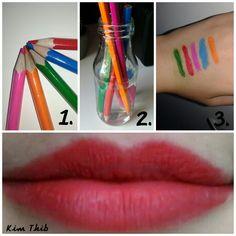 Rouge à lèvre aux crayons -Plongez vos crayons de couleur dans de l'eau chaude -Essuyer l'excédent sur un coton -Appliquer le sur vos lèvres