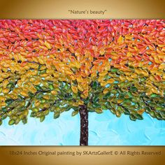 Colorful fall painting original artwork Fall tree by SKArtzGallerE