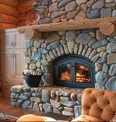 river stone fireplaces | River Rock | fireplaces | Pinterest ...