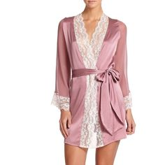 Myla Isabella Short Robe (€530) ❤ liked on Polyvore featuring intimates, robes, lingerie, apparel & accessories, mauve, myla lingerie, short bath robe, bath robes, tie belt and short robe