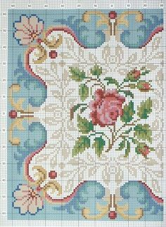 """Beautiful details for counted cross-stitch.  Looks like an Aubusson color card (aka- """"cartoon"""")"""