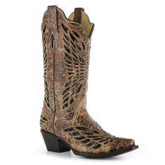 Tan Corral Women's with Black Sequin & Crystal - Butterfly Western Boots