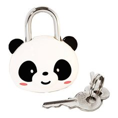 DIYJewelryDepot Cute Steel Lock Panda Bear Keyed Padlock for Suitcases Backpacks and Lockers -- Details can be found by clicking on the image.
