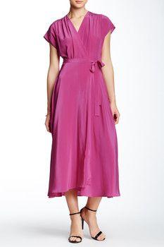 Nieves Lavi Maxi Silk Wrap Dress