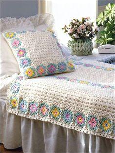 Sweet crocheted bedspread