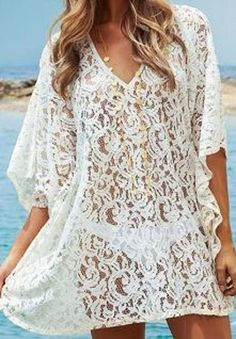 Gorgeous Lace! Love it with the Layered Necklace! Sexy White Lace V-Neck 3/4 Sleeve Solid Color Hollow Out Beach Cover Up #Sexy #White #Lace #Beach #CoverUp #Summer #Fashion