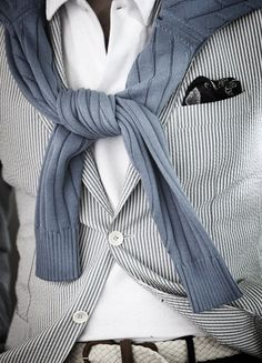 Textures are like a Caesar salad, meant to be mixed. File under: Cardigans, Blazers, Pinstripes, Dapper