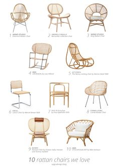 Rattan chairs that we love - mismatched living room furniture