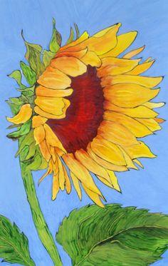 "Sunflower Art - ""Blue Skies Smilin' at Me"" - Acrylic Painting by Lorraine Skala Van Gogh, Watercolor Flowers, Watercolor Paintings, Original Paintings, Watercolor Sunflower, Sunflower Art, Sunflower Garden, Yellow Sunflower, Art Blue"