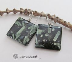 Chinese Writing Stone Earrings, Green Black Stone Earrings, Earthy Earrings, Beaded Earrings, Unique Natural Stone Jewelry, Dangle Earrings