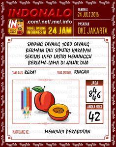 Prediksi Togel Online Live Draw 4D Indonalo DKI Jakarta 24 Juli 2016