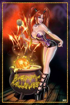 dreamies.de Fantasy Girl, Fantasy Witch, Fantasy Art Women, Witch Art, Dark Fantasy Art, Fantasy Artwork, Halloween Cartoons, Halloween Art, Beautiful Witch