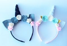 A personal favourite from my Etsy shop https://www.etsy.com/uk/listing/275314980/unicorn-headband-set-flower-crown