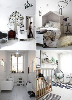 monochrome black and white kids room   wood