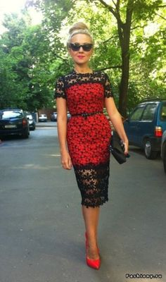 love, black and red, floral, lace dress #classy  This is so pretty but I definitely wouldn't have the figure for it