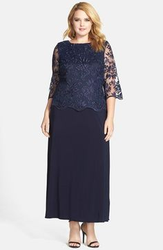 Alex Evenings A-Line Gown with Lace Illusion Sleeves (Plus Size) available at #Nordstrom