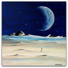Acryl/Leinwand 50 cm x 50 cm x 1,5 cm Preis auf Anfrage  Mann und Mond